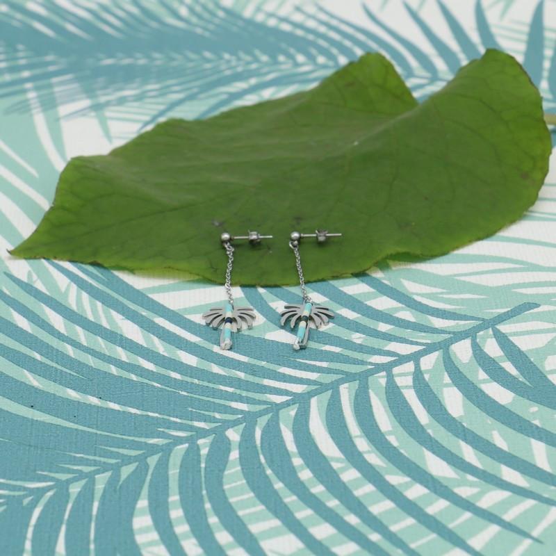 Boucles d'oreilles acier palmier CROISETTE - TURQUOISE
