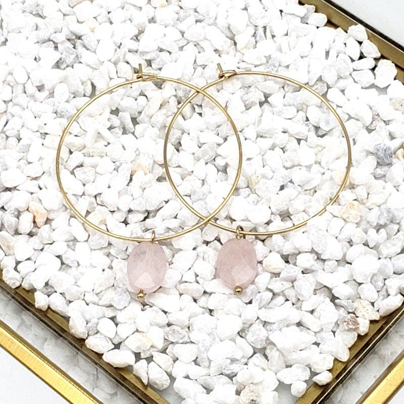 Boucles d'oreilles créole en acier et agate olive PAULINE rose clair