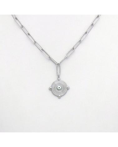 Collier rond oeil en acier inoxydable avec chaîne rectangulaire ANNA argenté