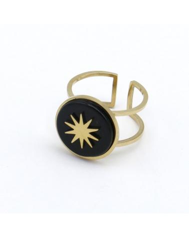 bague ouverte réglable géométrique avec pierre(s) naturelle(s) ronde motif soleil en acier inoxydable LOUNA noir