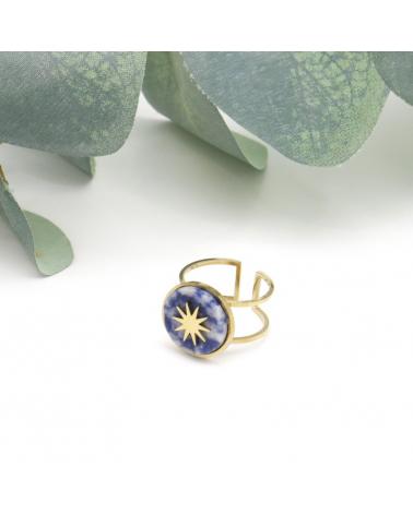 bague ouverte réglable géométrique avec pierre(s) naturelle(s) ronde motif soleil en acier inoxydable LOUNA bleu