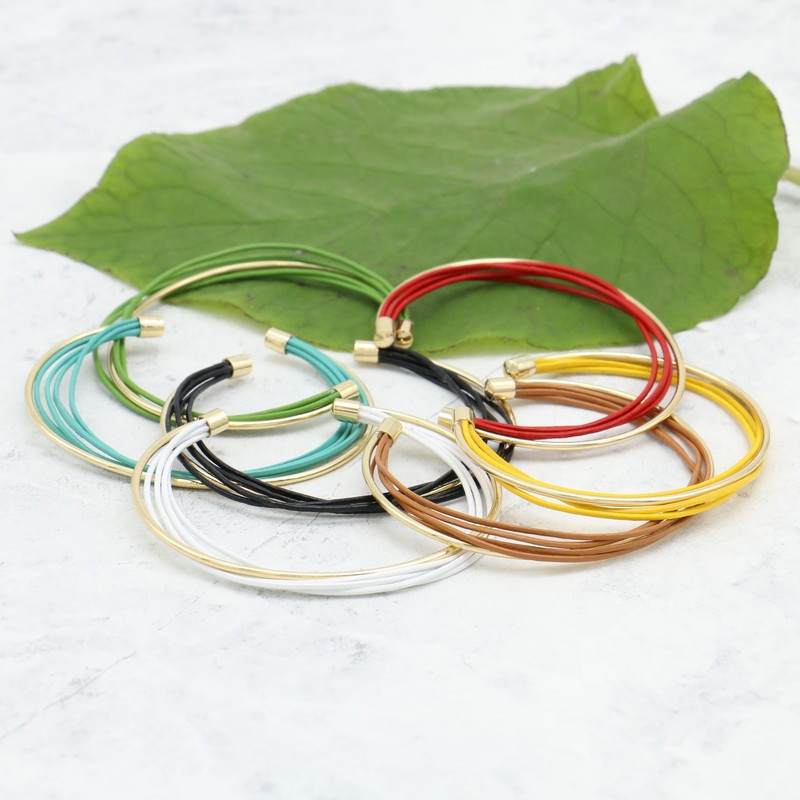 Bracelet jonc ouvert en métal et cuir véritable MIA