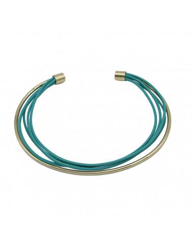 Bracelet jonc ouvert en métal et cuir véritable MIA-bleu