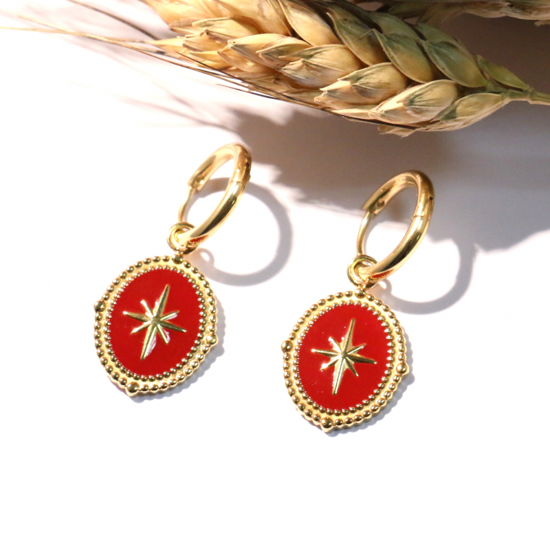 Boucles d'oreilles petites créoles bohème et baroque en acier inoxydable avec pendentif étoile du nord en émail ADRIELLE-rouge