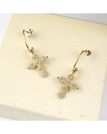 Boucles d'oreilles demi-créoles avec charms croix baroque en acier inoxydable BLANCA-blanc