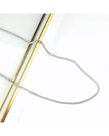 Collier court en acier inoxydable serti de cristaux BERYL-argenté