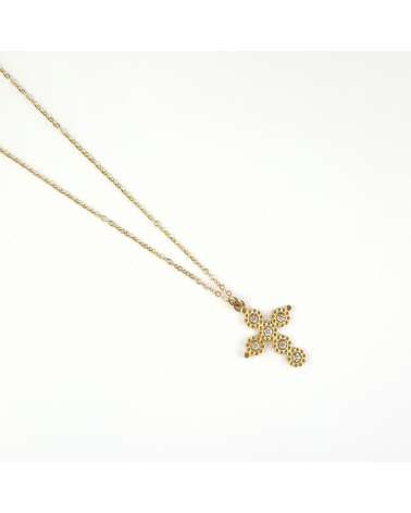 Collier avec croix baroque protectrice et cristal en acier inoxydable CAINA-blanc
