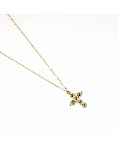 Collier avec croix baroque protectrice et cristal en acier inoxydable CAINA-gris