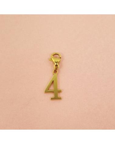 Charms porte-bonheur chiffre en acier inoxydable NUMERO 4-doré