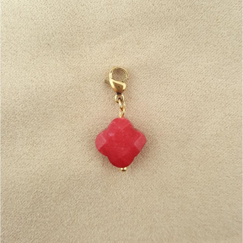 Charms porte-bonheur en agathe rouge et acier inoxydable AMOUR-rouge