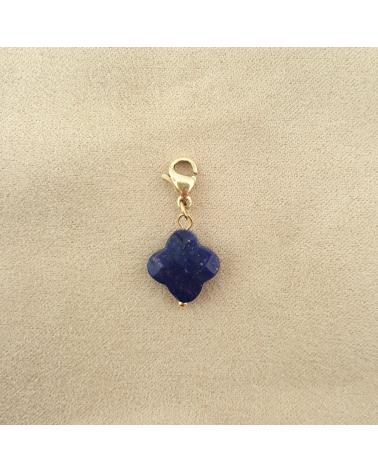 Charms porte-bonheur en agathe bleue foncée et acier inoxydable SERENITE-bleu foncé
