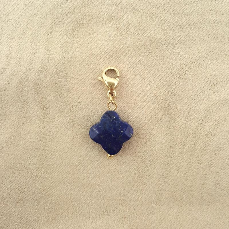 Charms porte-bonheur en agate bleue foncée et acier inoxydable SERENITE-bleu foncé