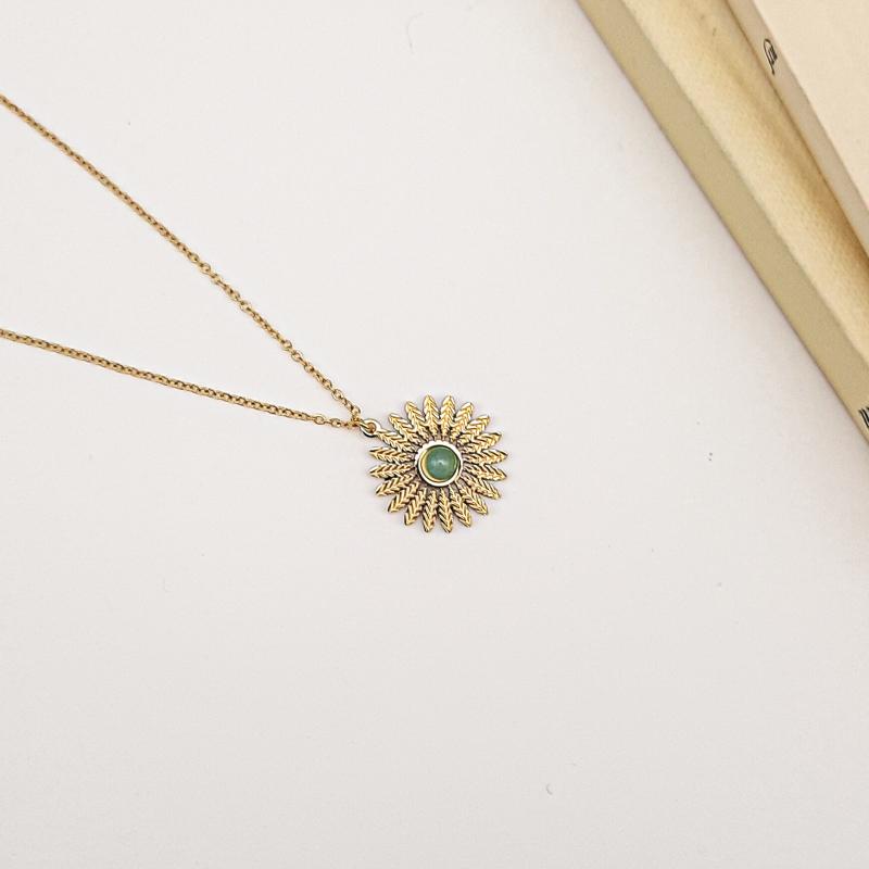 Collier en acier inoxydable à pendentif marguerite et cabochon en pierre véritable CIHAM-vert