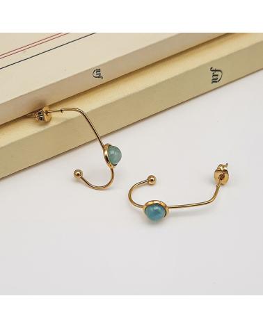 Boucles d'oreilles agrafe avec pierre naturelle en acier inoxydable CELMA-bleu