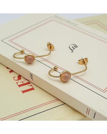 Boucles d'oreilles agrafe avec pierre naturelle en acier inoxydable CELMA- rose nude