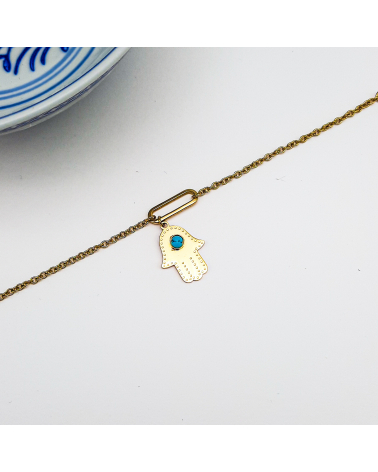 Bracelet symbolique charms main de Fatma en acier inoxydable CEYDA-turquoise
