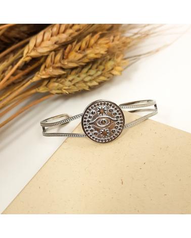 Bracelet jonc avec médaillon oeil protecteur en acier inoxydable CHARMILA-argenté