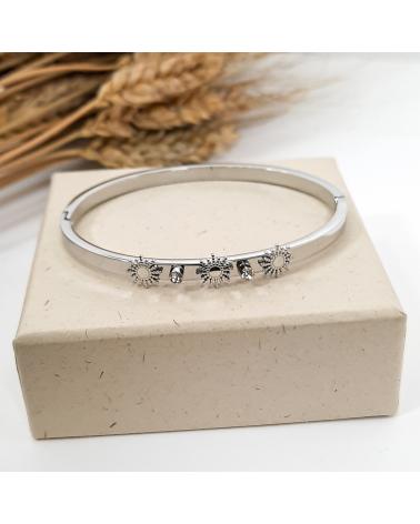 Bracelet jonc soleil et cristaux en acier inoxydable CHEHERAZADE-argenté