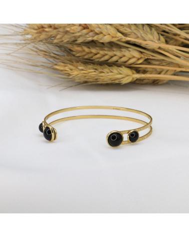 Bracelet jonc bohème en acier inoxydable avec cabochons en pierre naturelle CLAUDIA-noir