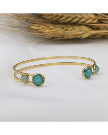 Bracelet jonc bohème en acier inoxydable avec cabochons en pierre naturelle CLAUDIA-bleu