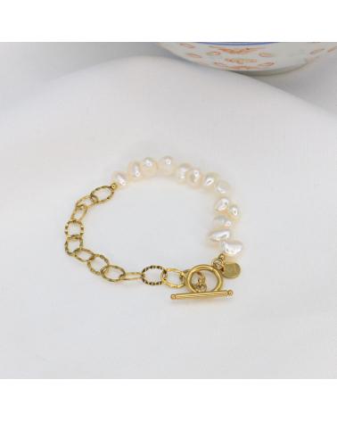 Bracelet perles d'eau douce véritables et acier inoxydable CORANE- doré