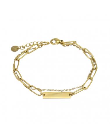 Bracelet layering pendentif gourmette en acier inoxydable CORDELIA- blanc
