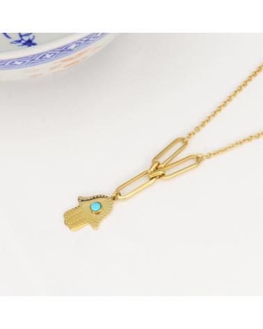 Collier ethnique avec pendentif main de FATMA protectrice en acier inoxydable COPPELIA-turquoise