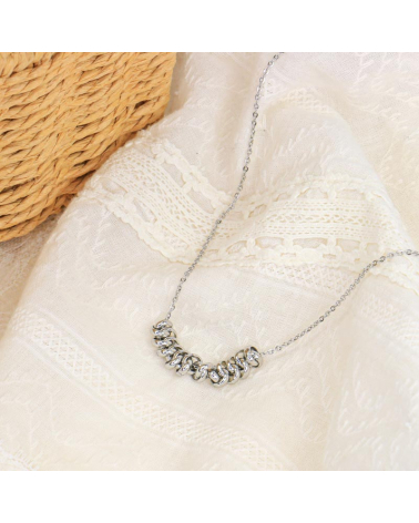 Collier anneaux entrelacés en acier inoxydable DIABA-argenté