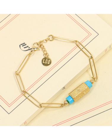 Bracelet pierres naturelles et talisman gravé multi faces en acier inoxydable DELVINA-turquoise