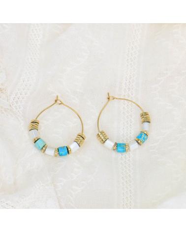 Boucles d'oreilles anneaux avec perles pierre et disques en acier inoxydable DESILIA-turquoise