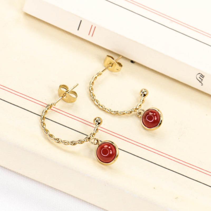 Demi-créoles en acier avec pendentif cabochon pierre en acier inoxydable DIENABA-rouge