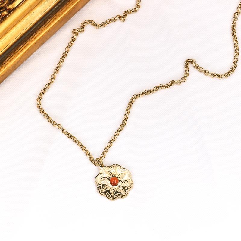 Collier bohème en acier inoxydable avec médaille gravée fleur et pierre DOLENE-rouge