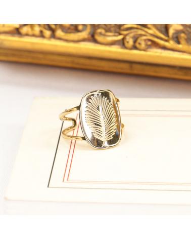 Bague médaillon feuille de palmier en acier inoxydable DIANA-doré