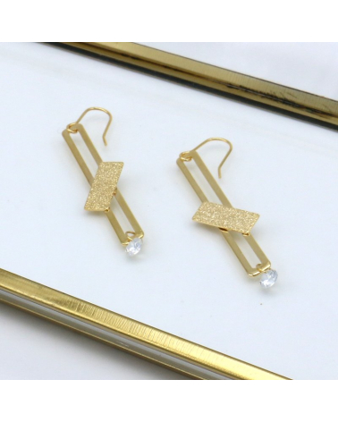 Boucles d'oreilles rectangle texturé cristal HENRIA - doré