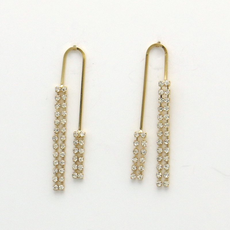 Boucles d'oreilles demi rectangle arrondi frange strass DORIA - doré