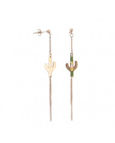 Boucles d'oreilles acier cactus TEXAS - KAKI